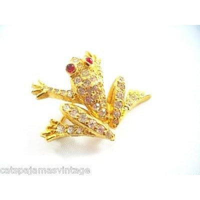 Vintage Jomaz Rhinestone & Gold Frog Brooch Ruby Red  Eyes 1950s - The Best Vintage Clothing  - 2