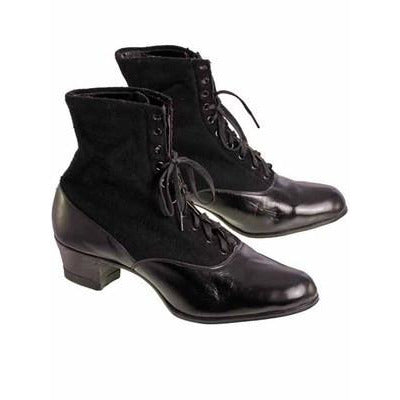 Vintage Black Wool & Leather Lace Up Boots 1910s NIB Womens Sz 8 S S & Co - The Best Vintage Clothing  - 1