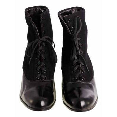 Vintage Black Wool & Leather Lace Up Boots 1910s NIB Womens Sz 8 S S & Co - The Best Vintage Clothing  - 3