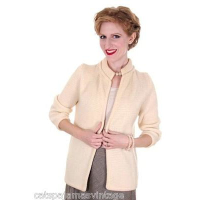 Vintage Ladies  Cardigan Sweater Open Front  Ivory Knit Saks Fifth Ave 1950s M - The Best Vintage Clothing  - 1