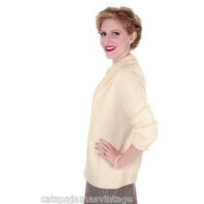 Vintage Ladies  Cardigan Sweater Open Front  Ivory Knit Saks Fifth Ave 1950s M - The Best Vintage Clothing  - 3