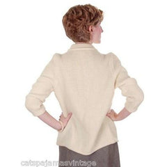 Vintage Ladies  Cardigan Sweater Open Front  Ivory Knit Saks Fifth Ave 1950s M - The Best Vintage Clothing  - 2