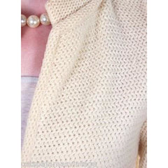 Vintage Ladies  Cardigan Sweater Open Front  Ivory Knit Saks Fifth Ave 1950s M - The Best Vintage Clothing  - 4
