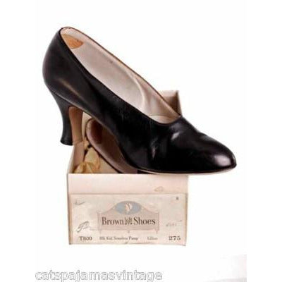 Vintage Ladies Black Kid Leather High Heels 1920s Size 7.5 NIB Brown Bilt Elegant - The Best Vintage Clothing  - 3