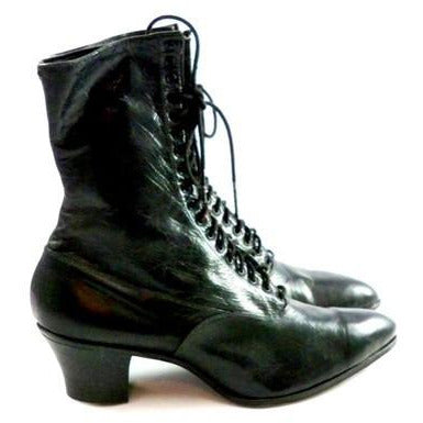 Antique High Top Lace Black Leather Boots Womens Titanic Era Well Made Modern Size 6.5 - The Best Vintage Clothing  - 2