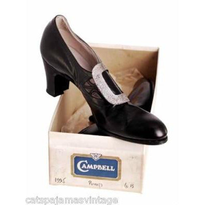 Vintage Womens Black Leather Pumps 1914 Pilgrim Buckle Sz 6 AA/B NIB Campbell - The Best Vintage Clothing  - 2