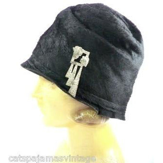 Vintage Ladies Cloche Hat Black Fur Felt 1920s w/ Deco Ornament Small Gatsby - The Best Vintage Clothing  - 1