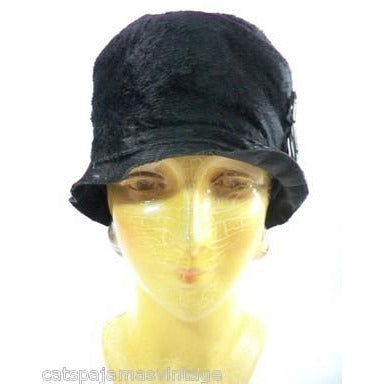 Vintage Ladies Cloche Hat Black Fur Felt 1920s w/ Deco Ornament Small Gatsby - The Best Vintage Clothing  - 3