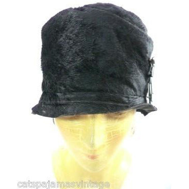 Vintage Ladies Cloche Hat Black Fur Felt 1920s w/ Deco Ornament Small Gatsby - The Best Vintage Clothing  - 2