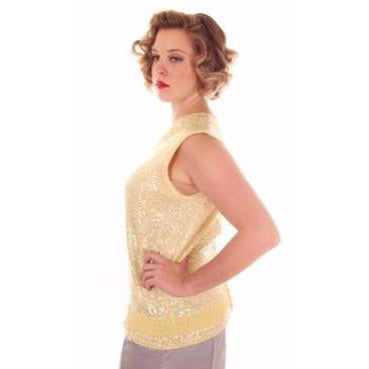 Vintage Ladies Top Sleeveless Yellow Sequin Sweater Shimmy 1960s B. Altman Med - The Best Vintage Clothing  - 1