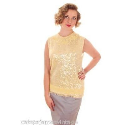 Vintage Ladies Top Sleeveless Yellow Sequin Sweater Shimmy 1960s B. Altman Med - The Best Vintage Clothing  - 3
