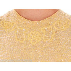 Vintage Ladies Top Sleeveless Yellow Sequin Sweater Shimmy 1960s B. Altman Med - The Best Vintage Clothing  - 4