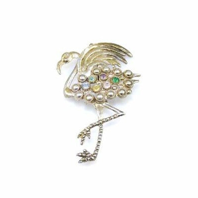 Vintage Large Colored Rhinestone Flamingo Brooch 1930S