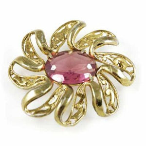 Vintage Large Goldtone Brooch/Pink Stone 1940'S - The Best Vintage Clothing  - 1