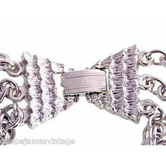 Vintage Large Silver Tone Triple Heavy Chain & Braided Steel Fob 1960s - The Best Vintage Clothing  - 3