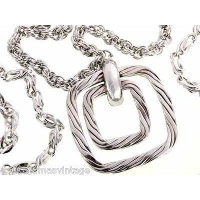 Vintage Large Silver Tone Triple Heavy Chain & Braided Steel Fob 1960s - The Best Vintage Clothing  - 1