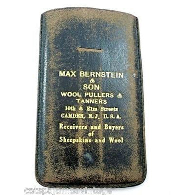 Vintage Leather Note Holder Max Bernstein Wool Pullers Camden NJ 1920s - The Best Vintage Clothing  - 1