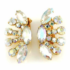 Vintage Large Half Moon Aurora Borealis Clip On Earrings 1950S - The Best Vintage Clothing  - 1