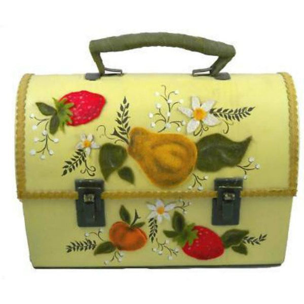 Vintage Tin  Lunch Box Purse Fruit Appliques 1970'S - The Best Vintage Clothing  - 1