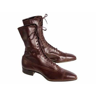 Vintage Womens Mahogany Leather High Top  Lace Boots 1910 Sz 5-6 - The Best Vintage Clothing  - 2