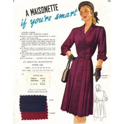 VINTAGE MAISONETTE FABRIC SWATCH 1940'S 8X11 644 644 - The Best Vintage Clothing