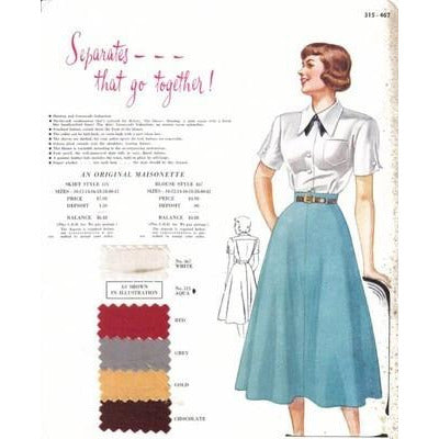 VINTAGE MAISONETTE FABRIC SWATCH Skirt & Blouse 1940'S 8X11 - The Best Vintage Clothing