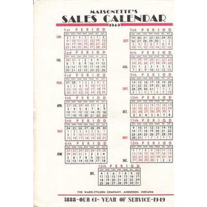 VINTAGE MAISONETTE SALES CALENDAR FOR 1949 - The Best Vintage Clothing