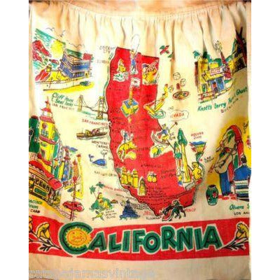 Vintage Map Of California Apron 1940S - The Best Vintage Clothing
