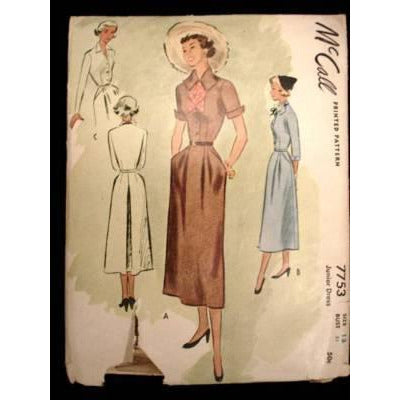 Vintage McCall Sewing Pattern #7753 Junior Dress Size 13 1949