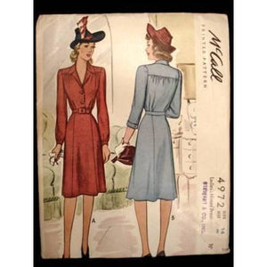 Vintage McCalls Sewing Pattern 4972 Miss Belted Dress Sz 14 42 - The Best Vintage Clothing