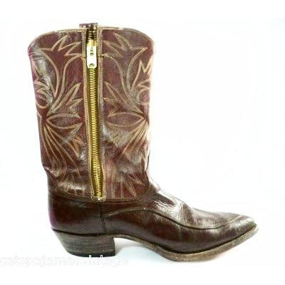 Vintage Mens Custom Made Cowboy Boots Heavy Zipper  Size 12EE