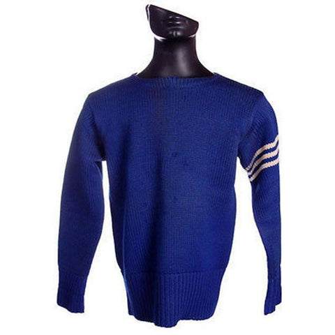 "Vintage Mens Knit Sweater Royal Blue Wool 1930s 44"" Chest White Sleeve Stripes"