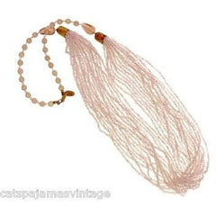 Vintage Miriam Haskell Pink Glass Beads/Seed Beads Necklace - The Best Vintage Clothing  - 1