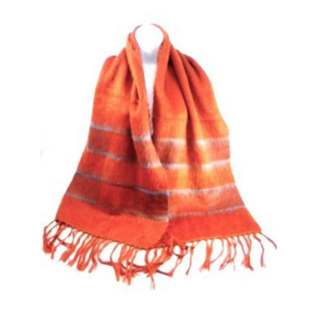 Vintage Mohair Scarf Bright Burnt Orange/Cornflower Blue 1970s - The Best Vintage Clothing  - 1