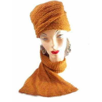 Vintage Mr. John Butternut Knit Hat w/ Attached Scarf 1950s