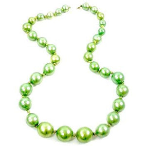 Vintage Necklace Green Composition Beads Graduated 1940s - The Best Vintage Clothing  - 1