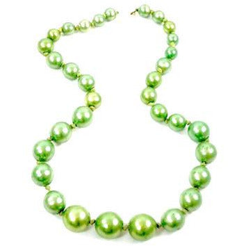 Vintage Necklace Green Composition Beads Graduated 1940s