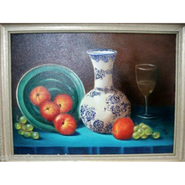 Vintage Oil Painting Still Life Fruit  Vibrant Colors Framed 13x17 - The Best Vintage Clothing  - 1