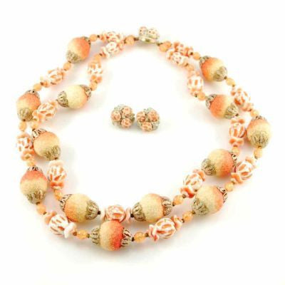 Vintage Orange Sherbet Textured Glass Bead Necklace & Earrings