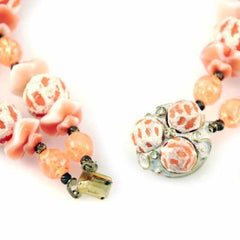 Vintage Orange Sherbet Textured Glass Bead Necklace & Earrings - The Best Vintage Clothing  - 4