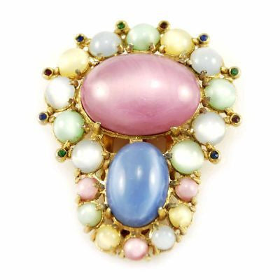 Vintage Pastel Cabochon Dress Clip Gold Tone 1920'S