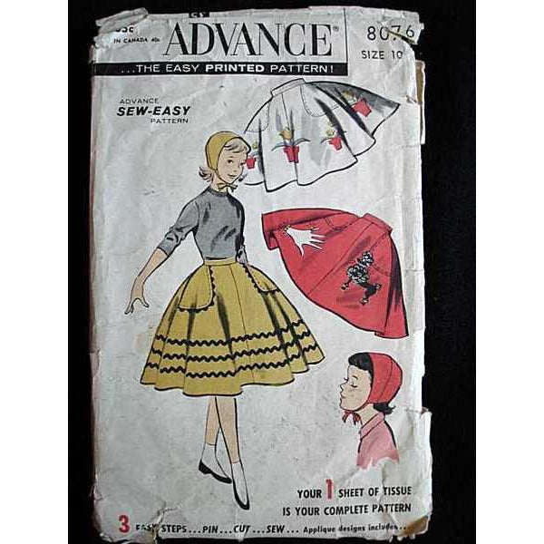 Vintage  Girls Poodle Skirt   Sewing Pattern Advance #8076 1950S - The Best Vintage Clothing