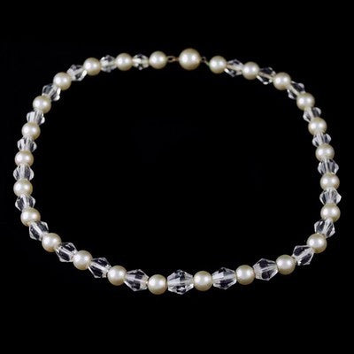 Vintage Pearl & Crystal Choker Necklace 1940S - The Best Vintage Clothing
