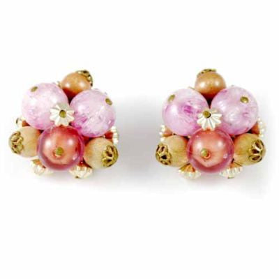 Vintage Pink/Salmon Clip-On Earrings W Germany 1950S