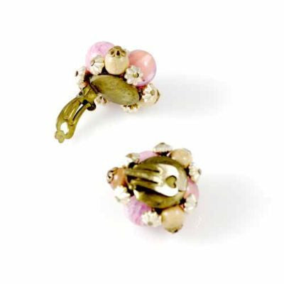 Vintage Pink/Salmon Clip-On Earrings W Germany 1950S - The Best Vintage Clothing  - 4