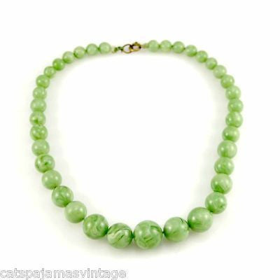 Vintage Plastic Green Jadeite Colored Beads Necklace 1930S - The Best Vintage Clothing  - 2