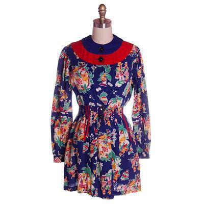 Vintage Printed Smock or Robe Fab 1940s Rare Mexican Print 36-28-44 NWOT - The Best Vintage Clothing  - 1