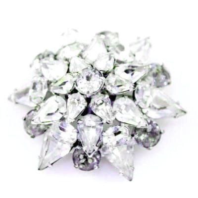 Vintage Prong-Set Rhinestone Dome Brooch 1940'S - The Best Vintage Clothing  - 1