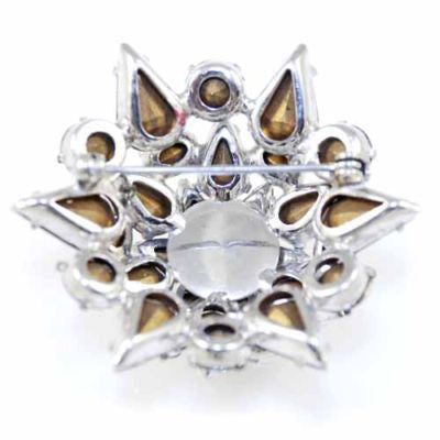 Vintage Prong-Set Rhinestone Dome Brooch 1940'S - The Best Vintage Clothing  - 2