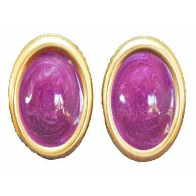 Huge Vintage Purple Enamel Pierced Earrings 1980S - The Best Vintage Clothing